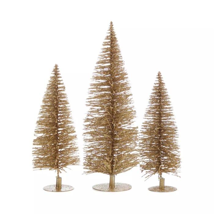 3 Gold Glitter Bristle Christmas Trees - HALF PRICE