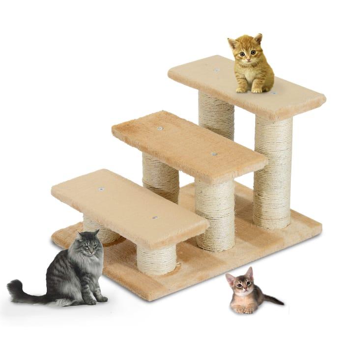 PawHut Portable Cat Steps-Deep Cream