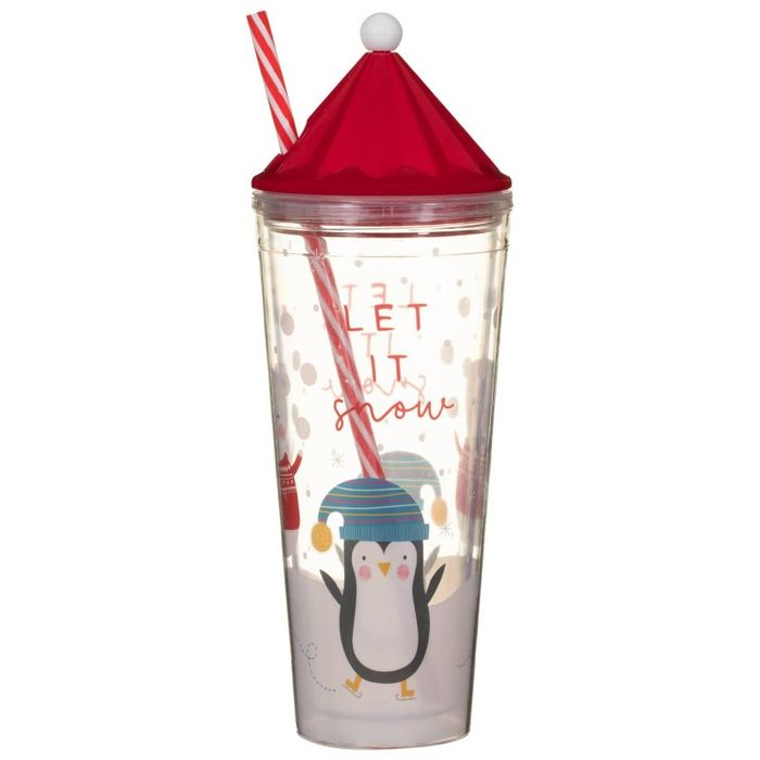 Christmas Cup & Straw - Penguins