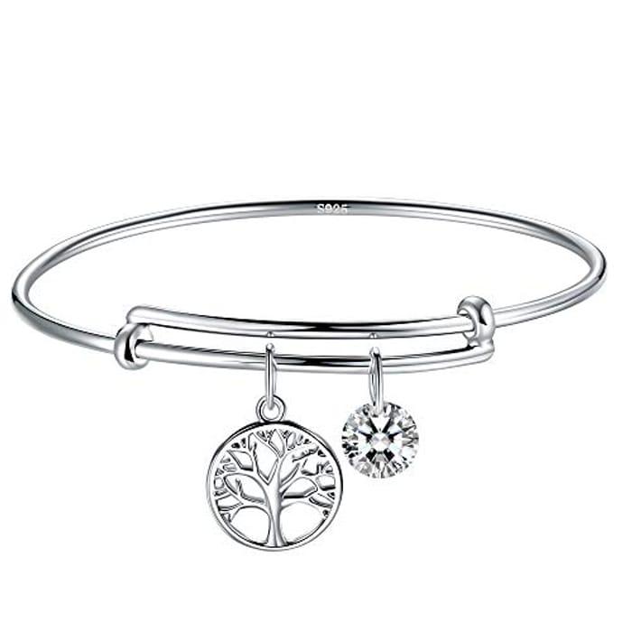 Tree of Life Silver Bracelet for Women, Adjustable Silver Charm Bracelet Bangle