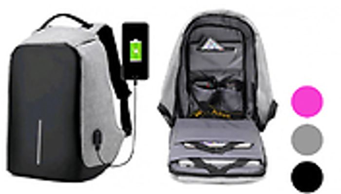 Anti-Theft USB Backpack - 3 Colours Down From £49.99 to £12.99