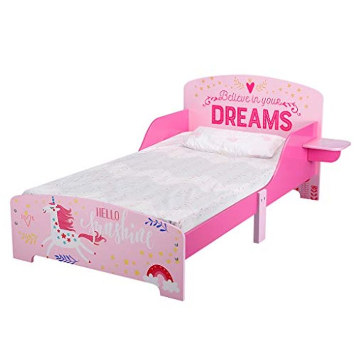 LANGRIA Toddler Bed for Kids, Unicorn Themed