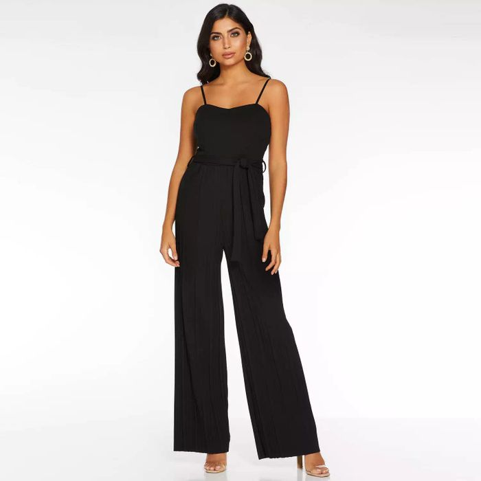 Quiz - Black Pleated Palazzo Jumpsuit - Size L