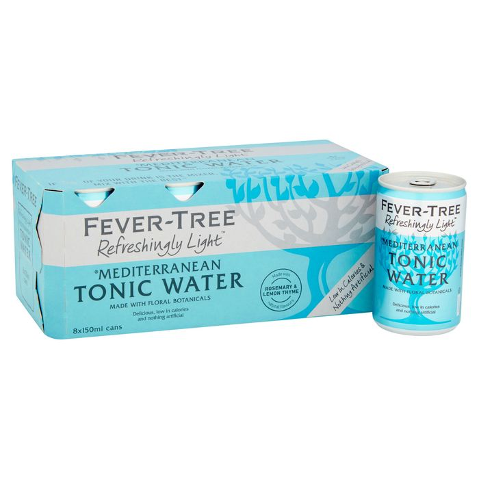 Fever Tree Light Mediterranean Tonic Water Cans 8X150ml