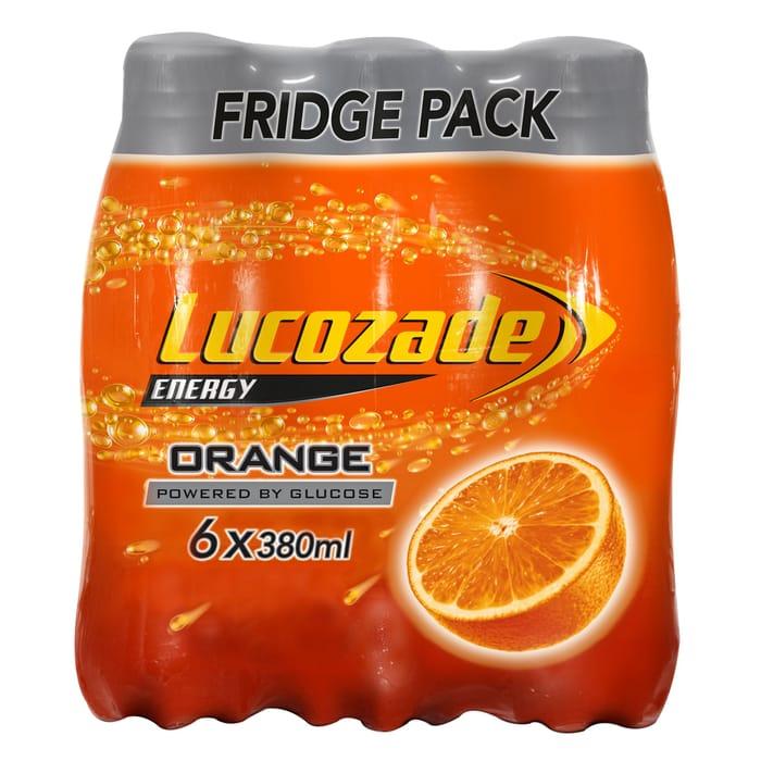 Lucozade Orange/Original/Apple Blast or Pink Lemonade/ Zero Orange 6 X 380Ml