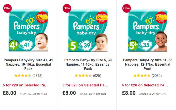 Selected Pampers nappies 5 for £20