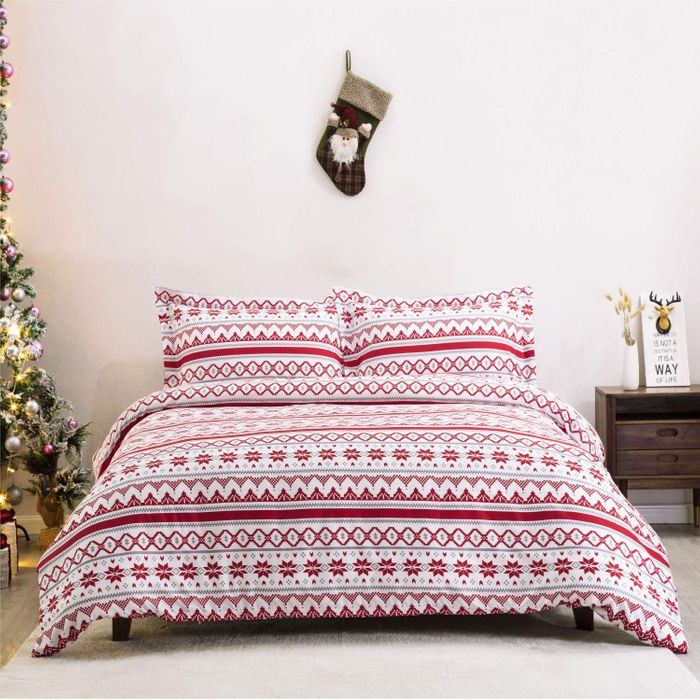 55% off Christmas Duvet Cover Set 3 Pcs with Zipper Closure + 2 Pillowcases