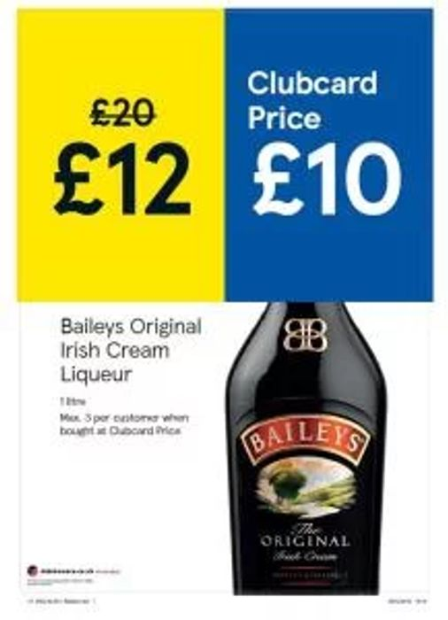 Baileys Original Irish Cream Liqueur 1L, To get the deal is use your Club card.