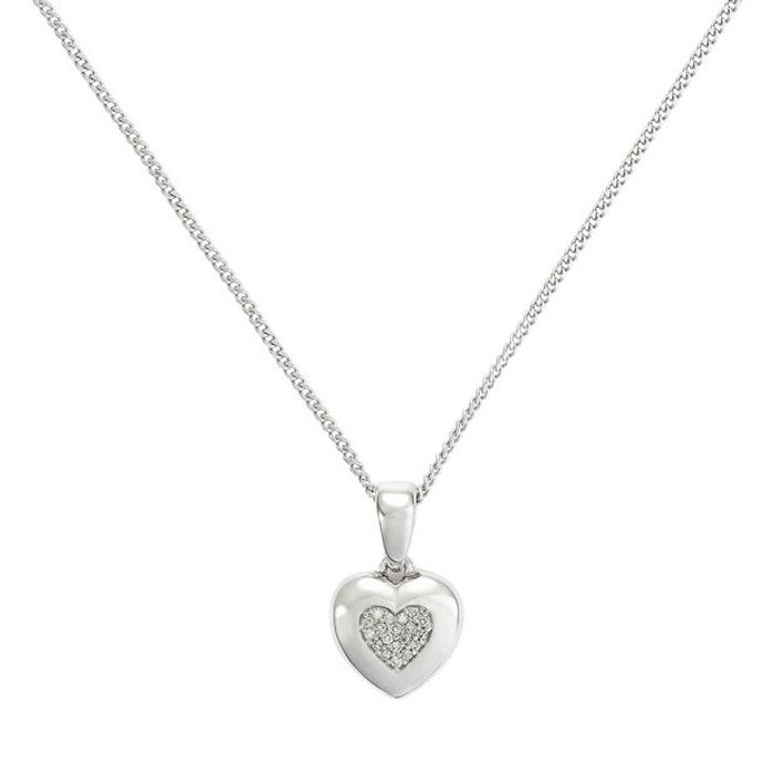 Revere Silver Diamond Heart Pendant Necklace on Sale From £39.99 to £19.99