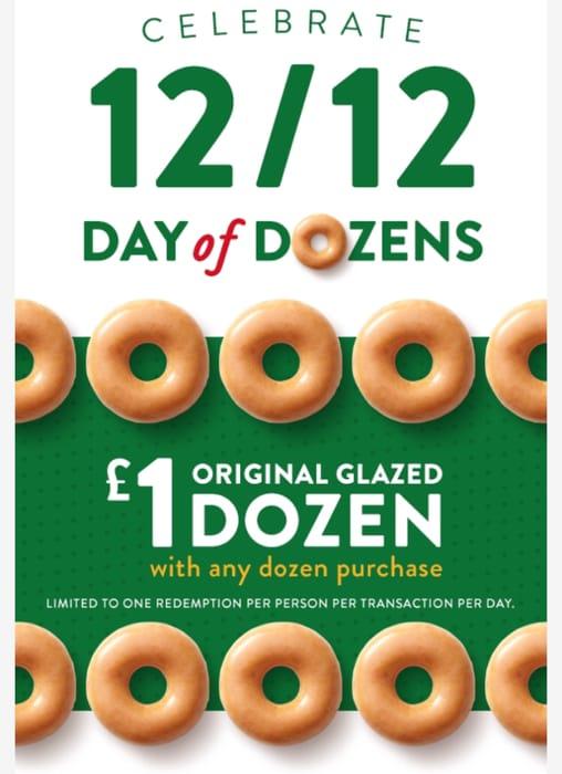 Buy Any Krispy Kreme Dozen and Get an Original Glazed Dozen for £1 12/12