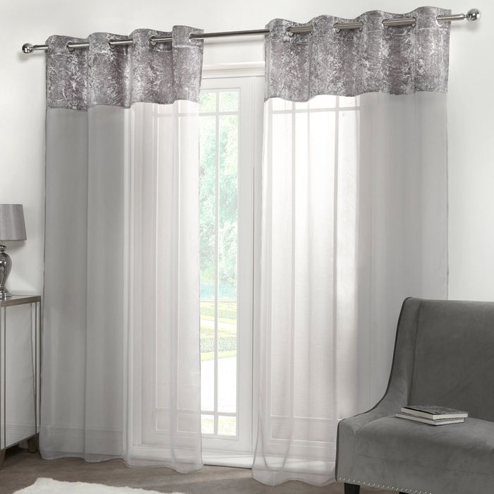 Crushed Velvet Top Voile Curtains