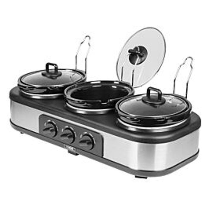Cheap Tower 3-Pot Slow Cooker and Buffet Server - Stainless Steel, Only £24.99!