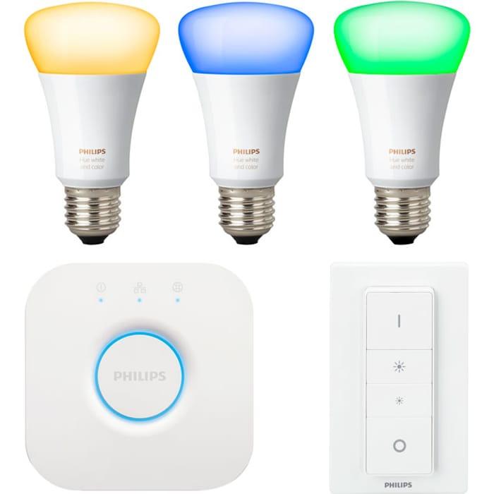 Philips Hue White & Colour Ambiance Starter Kit Inc 5 Bulbs, Bridge & Dimmer