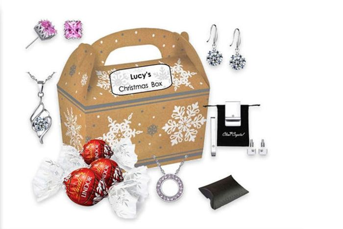 8pc Personalised Christmas Gift Box Made with Crystals from Swarovski