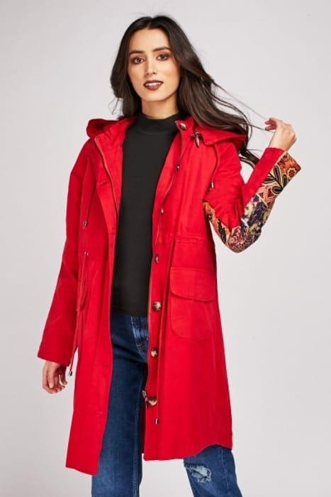 Jacquard Panel Hooded Parka Jacket £5.00