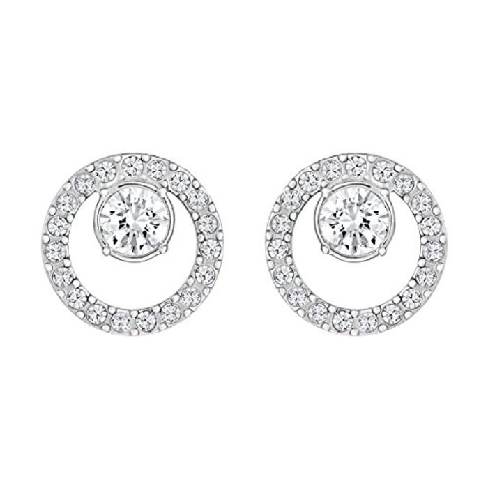 Women's White Rhodium Plated Creativity Circle Pierced Earrings