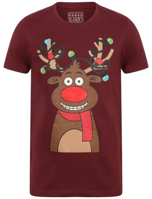 Light Reindeer Novelty Cotton Christmas T-Shirt