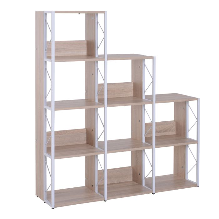 Cheap 9 Cube Bookshelf, 127Lx35Dx146.5H Cm-White Oak Colour, Only £78.99!
