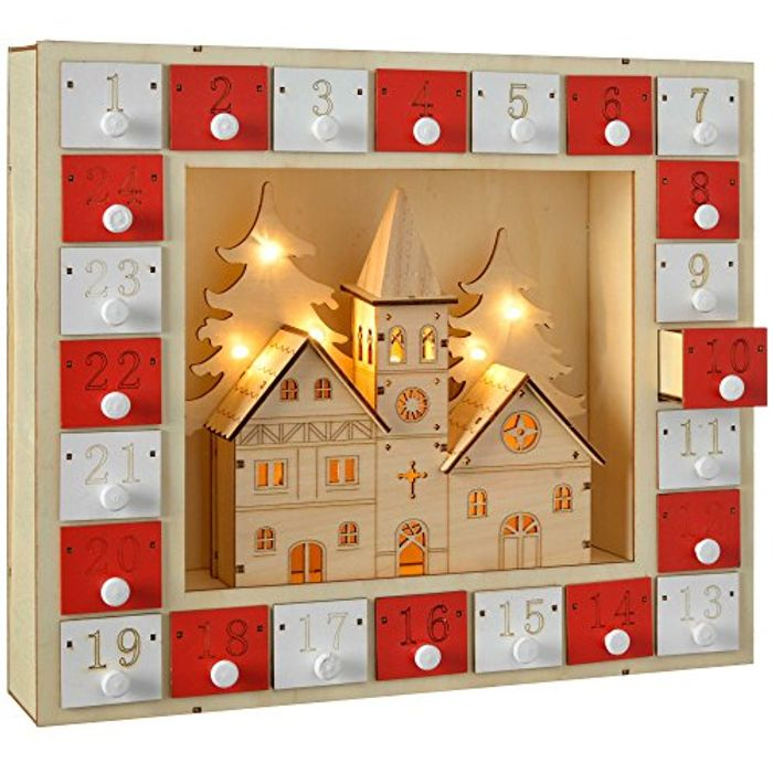 Pre-Lit Wooden Church Scene Advent Calendar Christmas Decoration, 29 Cm