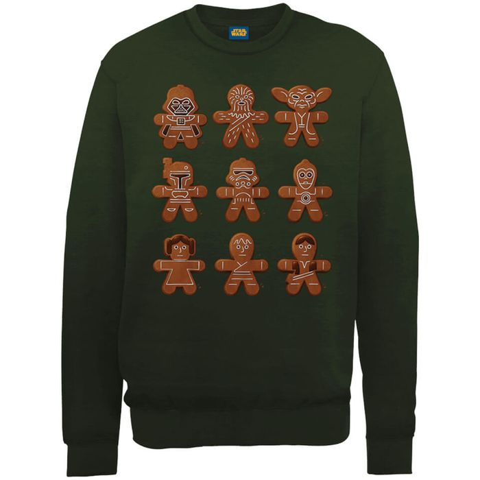 Star Wars Gingerbread Characters Green Christmas Sweatshirt - Save £10!