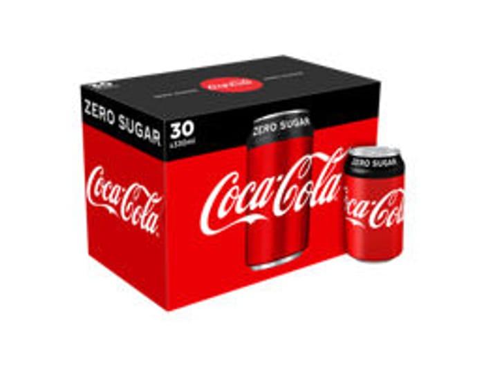 Coca-Cola Zero Sugar Cans or Coca Cola Diet 30pk - Save £1.50!