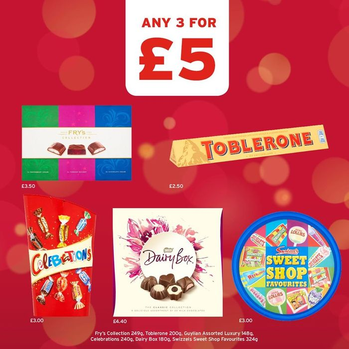 3 for £5 on Frys Collection, Gulliyan Chocolate, Toblerone, Dairy Box & More