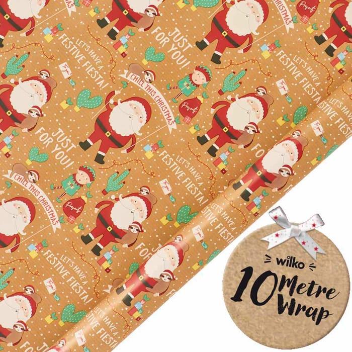 10m Festive Fiesta Santa Wrapping Paper