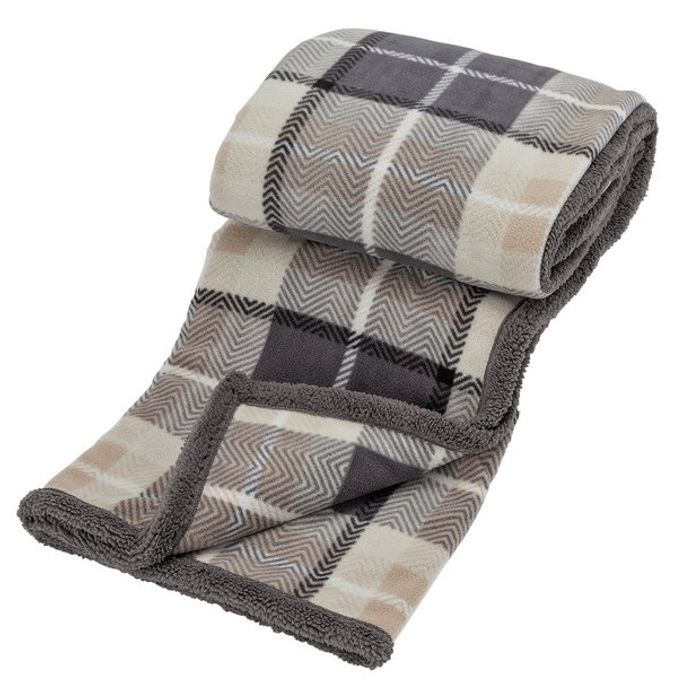 Argos Home Sherpa Check Reverse Throw - Grey