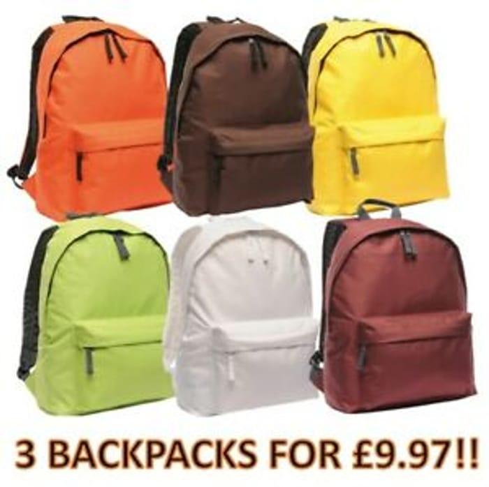 Regatta Backpacks 3 for £9.97 + Free Post