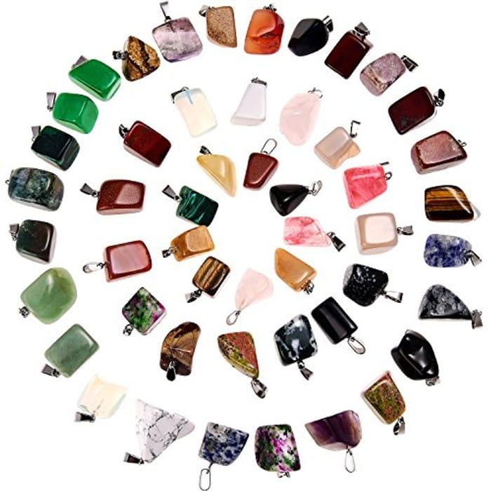 50 Pieces Mixed Irregular Healing Stone Beads Crystal Stone Pendants