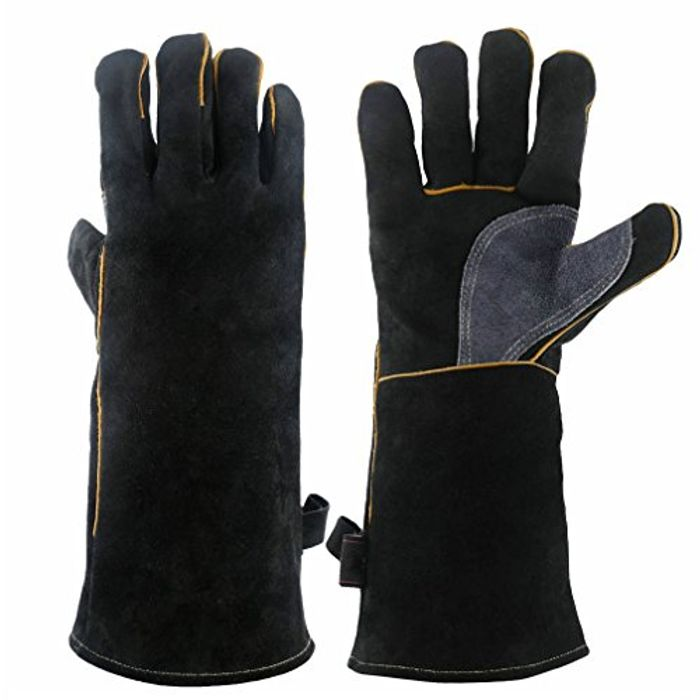 16 Inches Forge Welding & BBQ Leather Gloves, 932F Extreme Heat