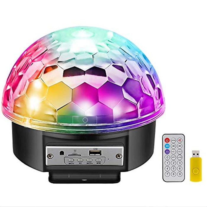 50% off 9 LED Color 12W Disco Ball Lights with Bluetooth Speaker
