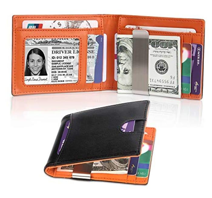 Tocode Genuine Leather Wallet Purse RFID Blocking Money Clip Bifold