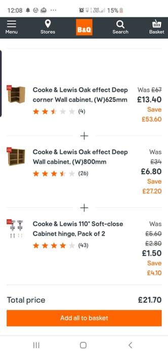 Cooke & Lewis Oak Effect Deep Corner Wall Cabinet, (W)625mm