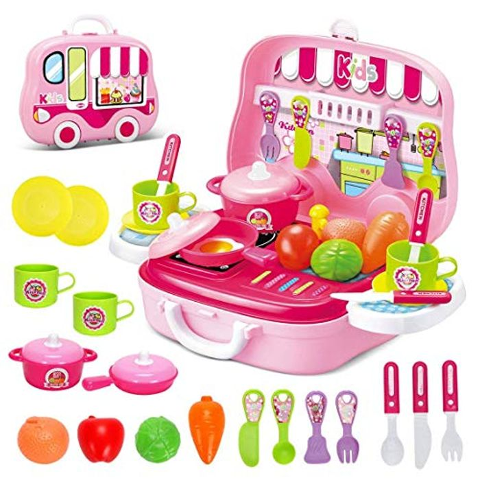 Toys Little Chef Kitchen Mini Carry Case Play Set with Accessories (Pink)