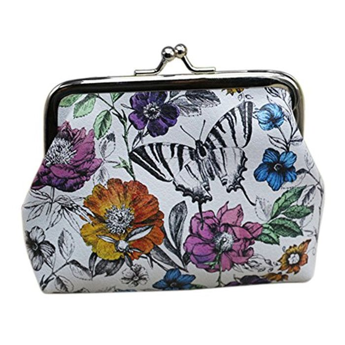 Floral Leather Hasp Clip Purse