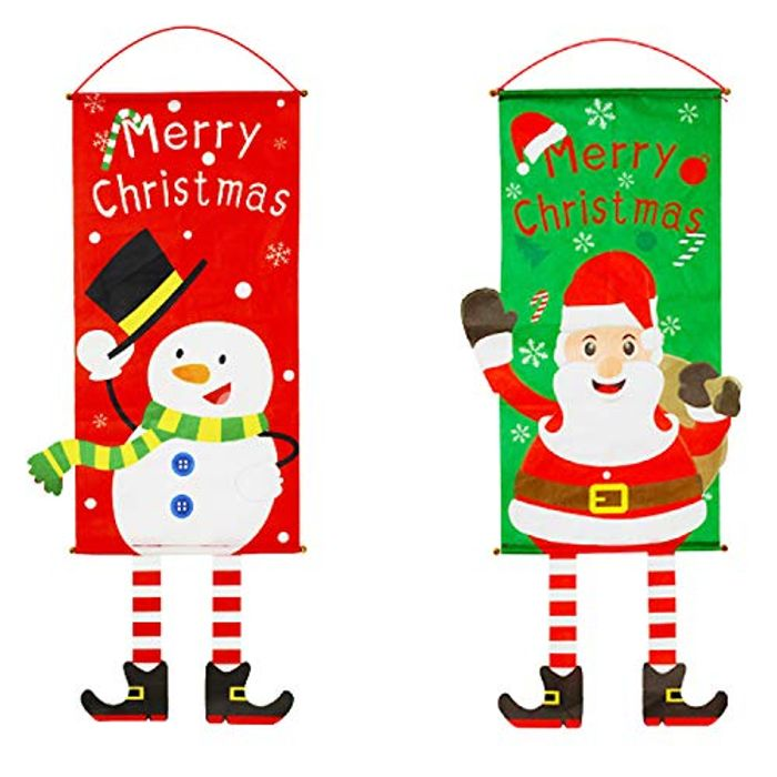 Chistmas Santa Snowman Hanging Flags Banner for Front Door Window House