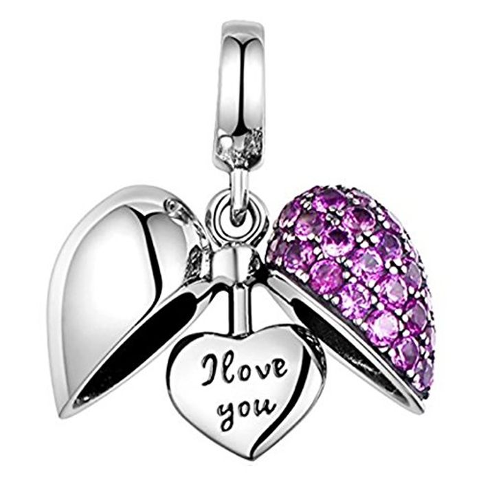 I Love You Heart Charm - S925 Sterling Silver