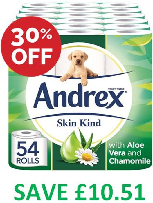 SAVE £10.50 - Andrex Toilet Roll Skin Kind, with Aloe Vera, 54 Rolls