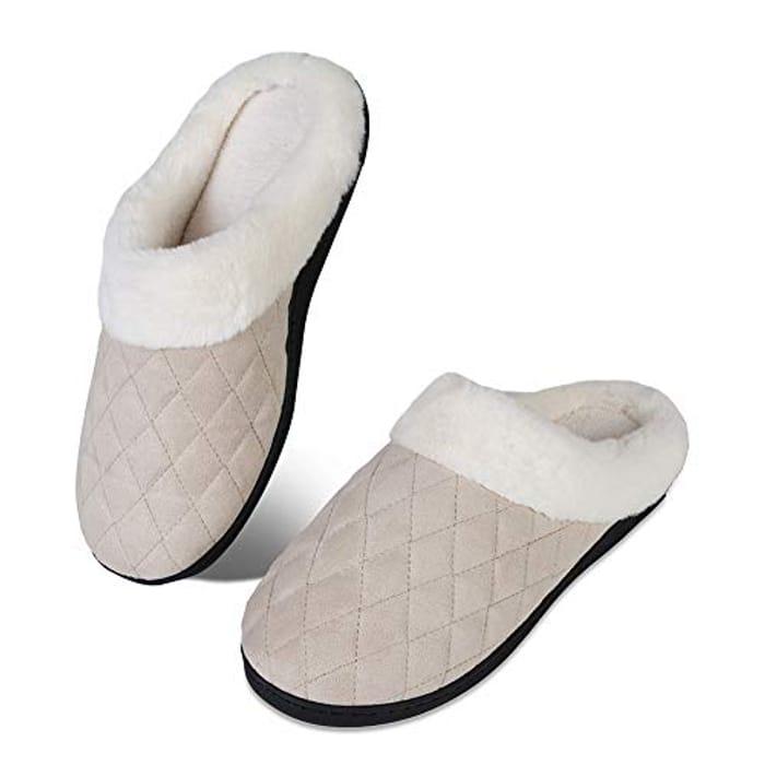Womens Mens Winter House Slippers Memory Comfort Plush Fleece Non Slip Slippers