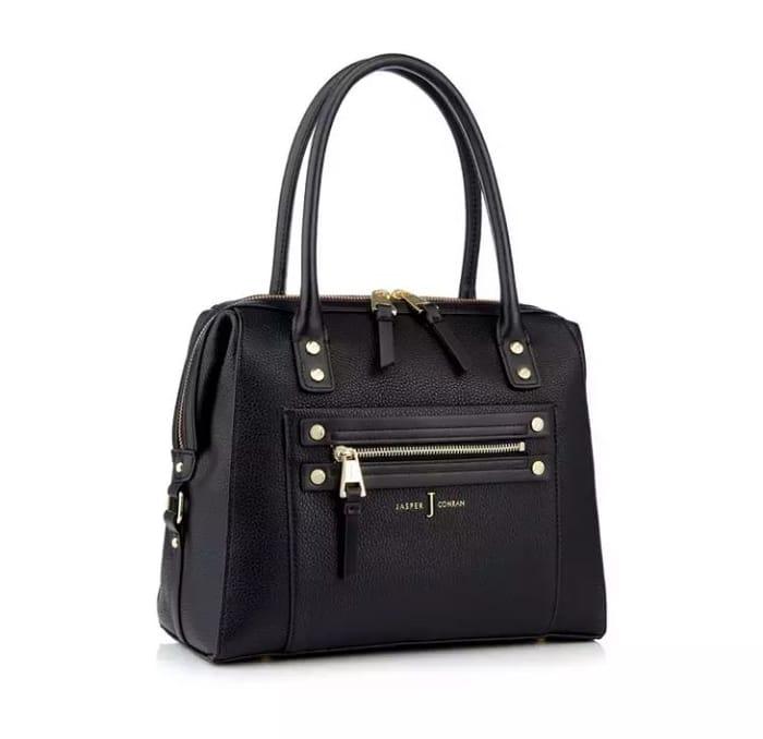 J by Jasper Conran-Black Studded Zip Detail Bowler Bag