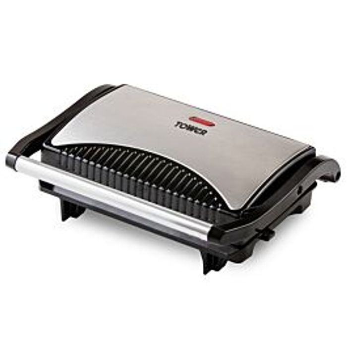 Tower Stainless Steel 750W Mini Panini Press £10.19 with Code