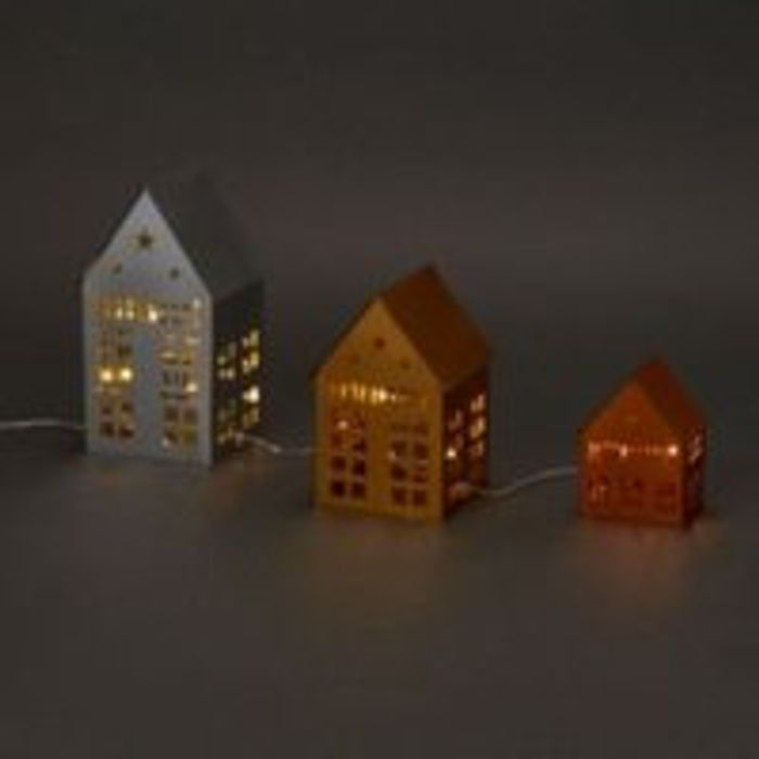 Warm White LED Metal Houses Silhouette