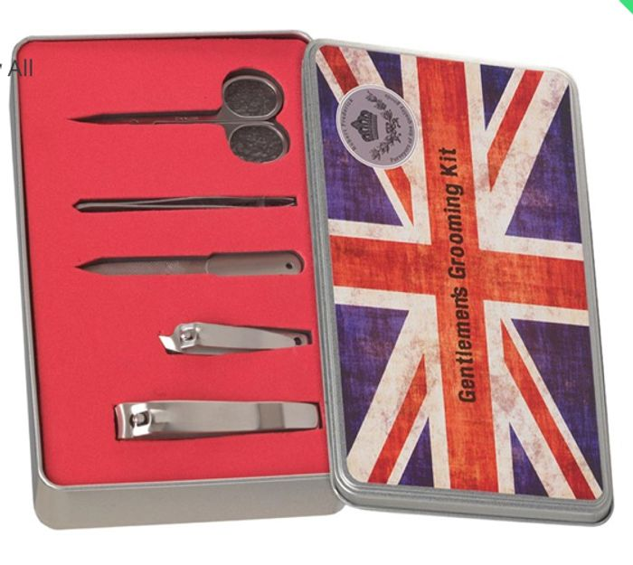 Union Jack Gentlemen's 5 Piece Grooming Kit in a Flat Brushed Tin