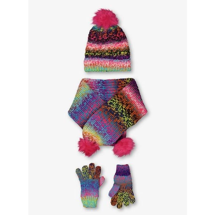 Multicoloured Rainbow Knit Hat, Scarf & Gloves Set - HALF PRICE