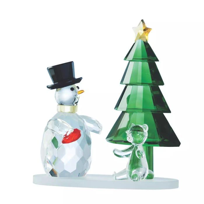 Magical Snowman/Green Tree Crystal Ornament - HALF PRICE
