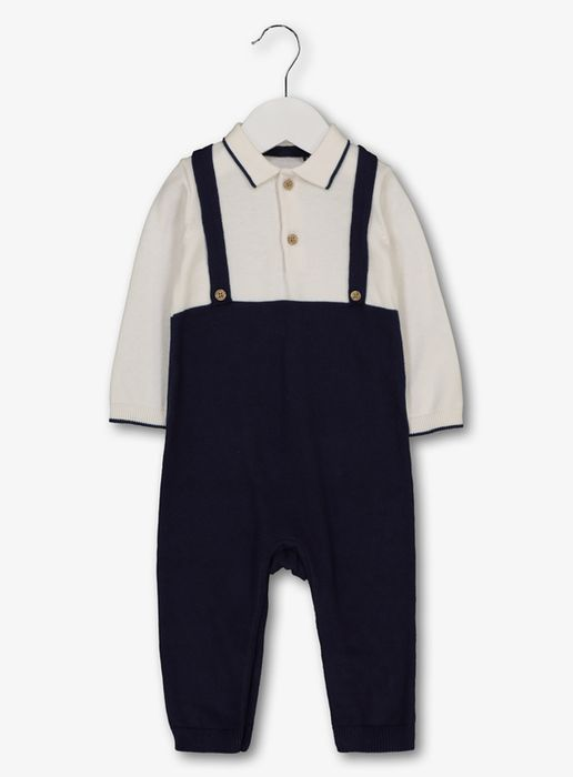Blue & Cream Romper with Sewn-in Braces (0-24 Months)