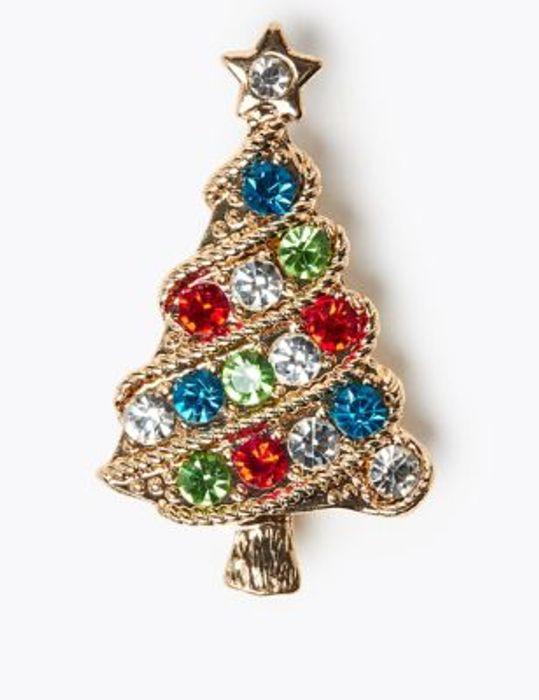M&S Collection Crystal Christmas Tree Brooch