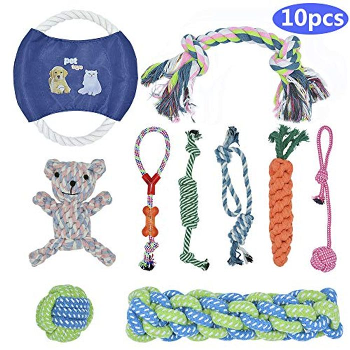 BOMPOW Dog Toys Durable Puppy Toys Teething Set Knots