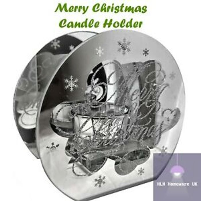 """Glass Mirror Tea Light Candle Holder - """" Merry Christmas """" - Snowflakes - NEW"""